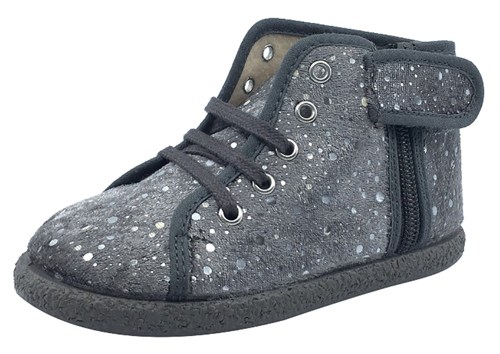 ChildrenChic Boy's and Girl's Side-Zip Chukka Boot, Grey Silver Bubble Velvet