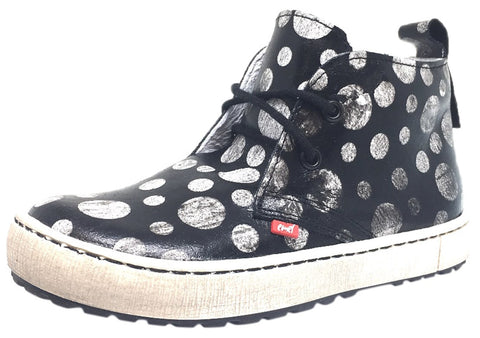 Emel Girl's & Boy's Black Polka Dot Smooth Leather High Top Sneaker with Distressed Sole