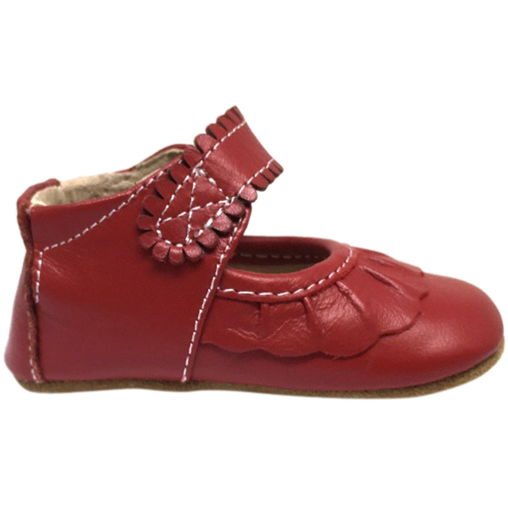 Livie & Luca Girl's Ruche Ruffled Leather Hook and Loop Mary Jane Shoe Red - Just Shoes for Kids  - 3