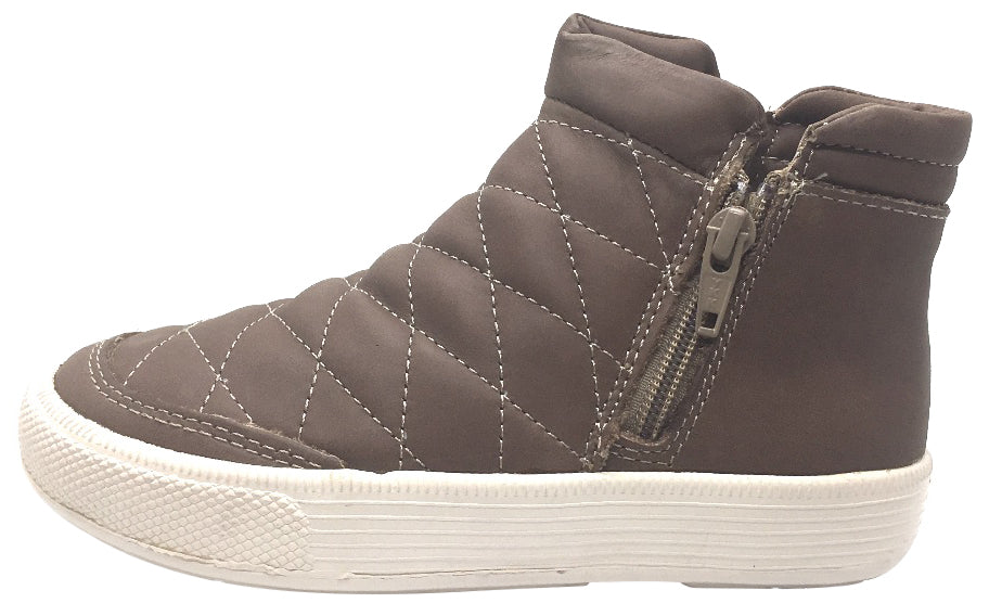 Old Soles Girl's and Boy's 1040 Zip Daley Distressed Coffee Quilted Leather Side Zipper High Top Sneakers