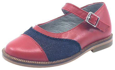 Luccini Girl's Red Smooth Leather and Denim Adjustable Buckle Mary Jane