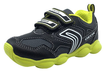 Geox Boy's Munfrey Leather Black/Lime Double Velcro Sneaker