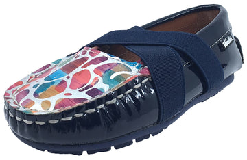Venettini Girl's Daisy Navy Blue Slip-On Moc