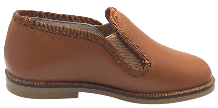 Hoo Shoes Boy's Tan Smooth Leather Smoking Loafer Flats