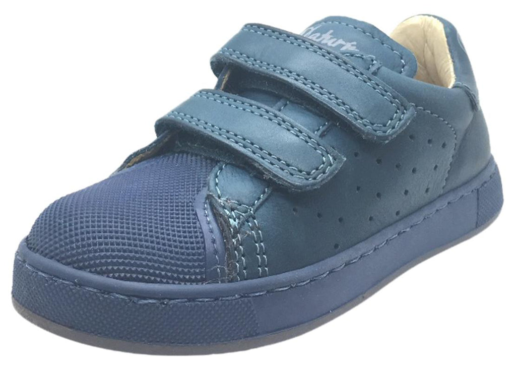 Naturino Boy's and Girl's 9102 Solid Colored Blue Perforated Leather Double Hook and Loop Sneakers