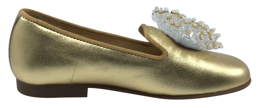 Andanines Girl's Smoking Loafer with Ornament, Gold