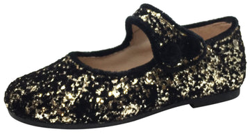 Manuela de Juan Girl's Ariana Gold Glitter & Velvet Leather Classic Mary Jane Flats with Velvet Trim