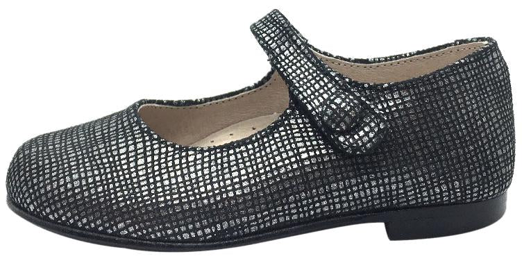 Hoo Shoes Girl's Hoova Black & Silver Checkered Leather Mary Jane Hook and Loop Strap Flats