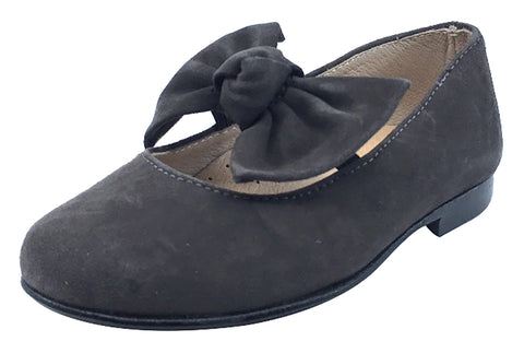 Hoo Shoes Chelia Girl's Bow Mary Jane, Grey Suede