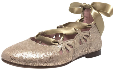 Chupetin 9347 Shimmer Spider Taupe Suede Lace Up Ribbon Ballet Flats