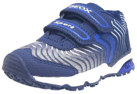 Geox Boy's Bernie Royal Blue & White Double Hook and Loop Strap Sneaker
