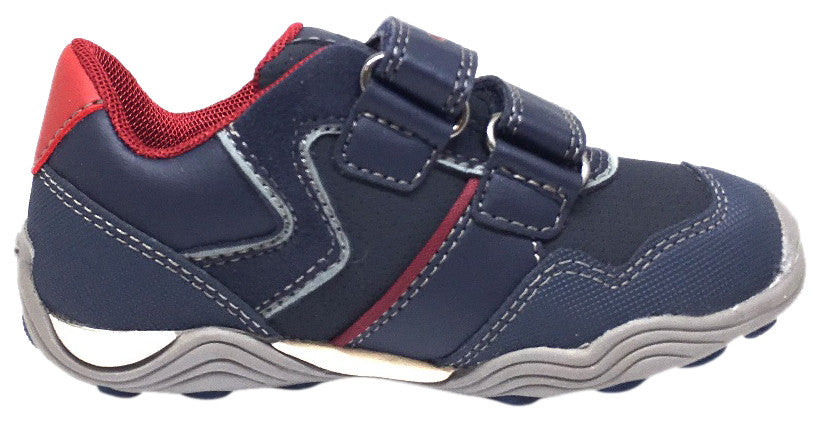 Geox Respira Boy's J Arno Leather Perforated Double Hook and Loop Sneaker Shoe inches, Navy - Just Shoes for Kids  - 4