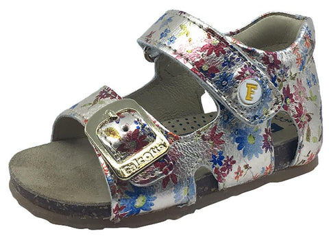 Naturino Falcotto Girl's Metallic Tropical Print Sandals with Hook and Loop Strap