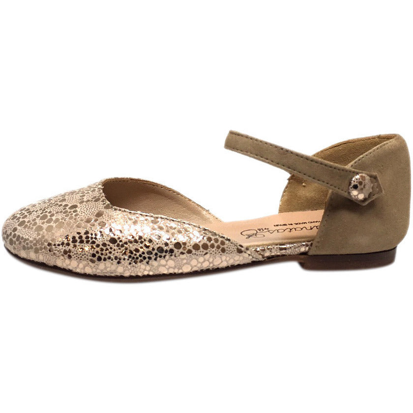 Papanatas by Eli Girl's Taupe Soft Suede Metallic Ankle Strap Ballet Flat Mary Jane - Just Shoes for Kids  - 2