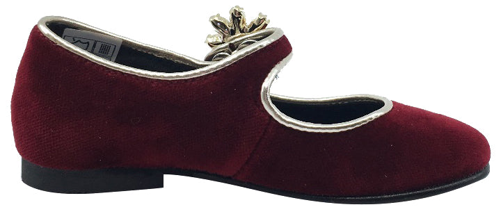 Luccini Girl's Mary Jane with Jewelry Accent (Burgundy)
