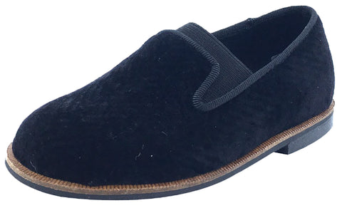 Luccini Boy's and Girl's Slip-On Smoking Loafer (Black Espiga Velvet)