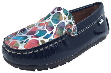 Venettini Girl's Gordy Navy Patent/Fuxia Stone Slip-On Moc