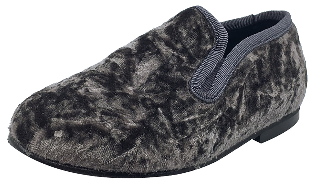 Luccini Boy's and Girl's Slip-On Smoking Loafer (Grey Crushed Velvet)