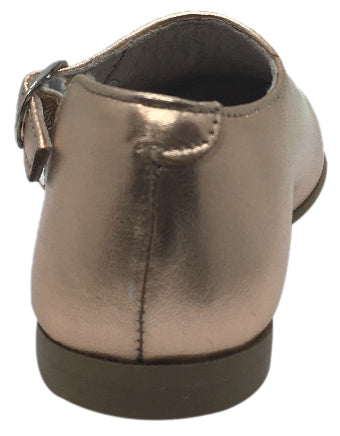 Hoo Shoes Girl's Rose Gold Metallic Leather Single Strap Buckle with Side Cut-Out Oxford Shoes