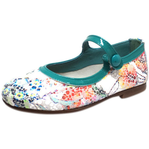 Papanatas by Eli Girl's Grey Teal Metallic Floral Print Mary Janes Button Flats - Just Shoes for Kids  - 1