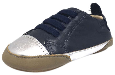 Old Soles Boy's and Girl's Joey Navy Soft Leather Elastic Lace Slip On Sneaker Shoe