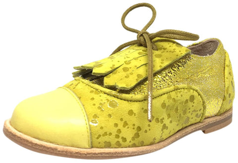 Manuela de Juan Boy's & Girl's Diana Lemon Odessa Yellow Leather Tassel Fringe Polka Dot Lace Up Oxford Shoe