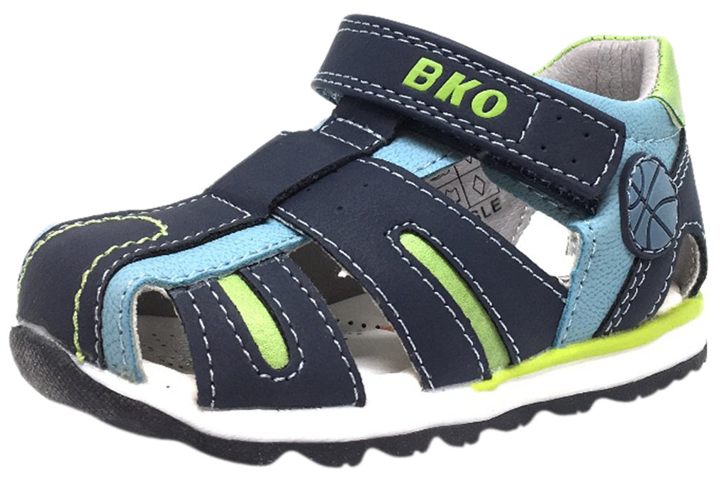 BKO Boy's Eagle II Navy and Green Canvas Single Hook and Loop Strap Fisherman Athletic Sandal