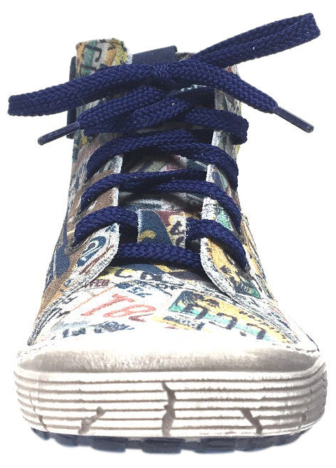 Emel Girl's & Boy's Distressed Navy License Plate Soft Suede Leather Lace Up Hight Top Sneaker