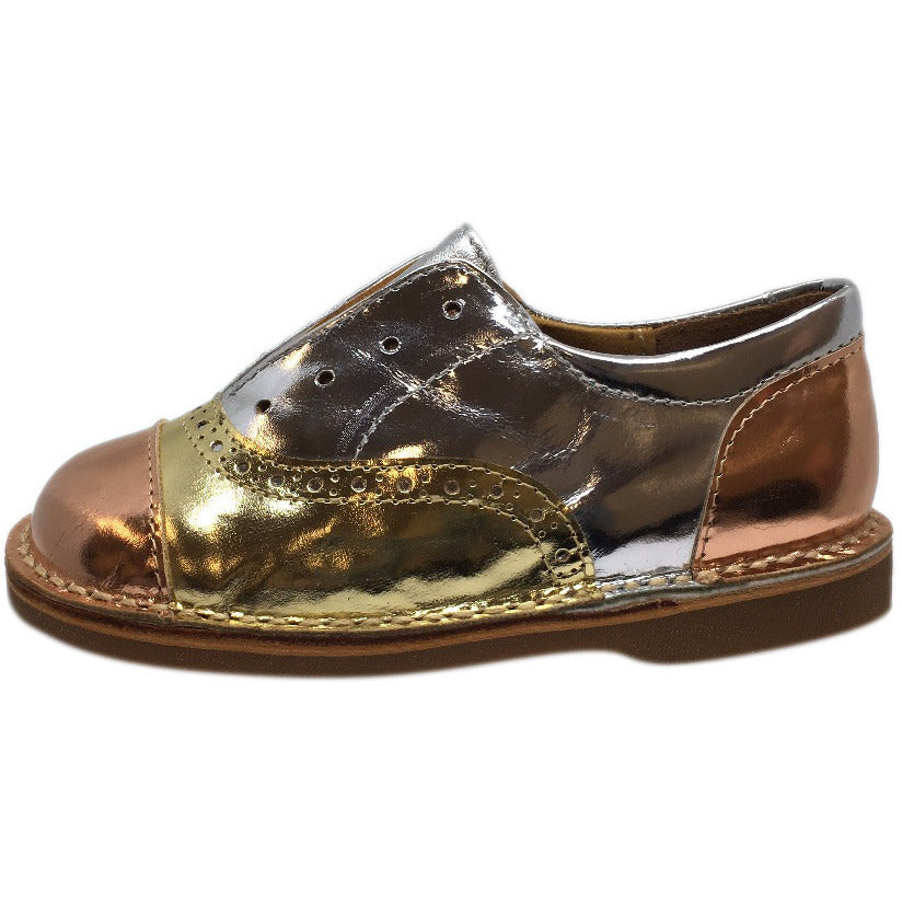 Papanatas by Eli Girl's Silver and Gold Metallic Slip On Oxford Loafer Shoes - Just Shoes for Kids  - 2