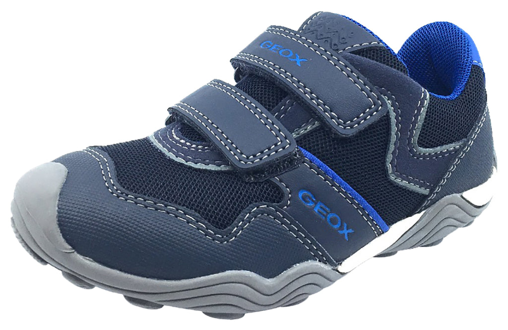 GEOX Boy's Arno Hook and Loop Sneaker (Navy/Royal Blue)