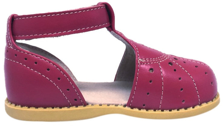 Livie & Luca Girl's Palma Hot Pink Perforated Leather T-Strap Style Ankle Strap Hook and Loop Mary Jane Shoe