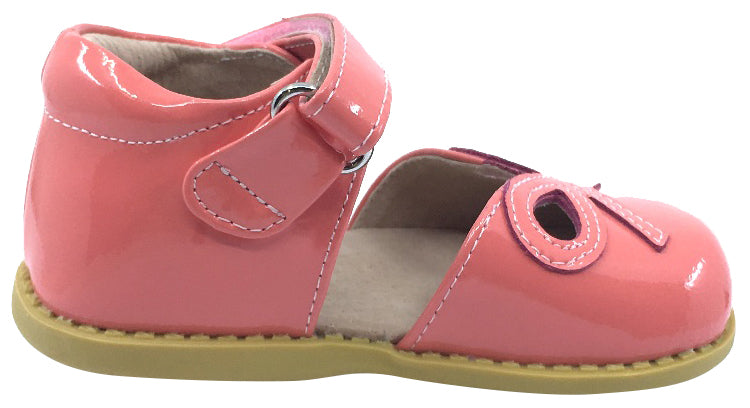Livie & Luca Girl's Bow Coral Pink Patent Leather Ribbon Bow Cut-Out Mary Jane Flat Shoes