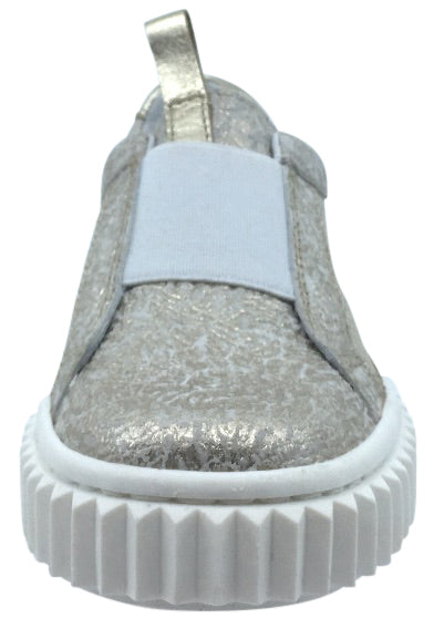 Naturino Girl's & Boy's Gold Metallic Leather Slip On Low Top Casual Sneaker Shoe