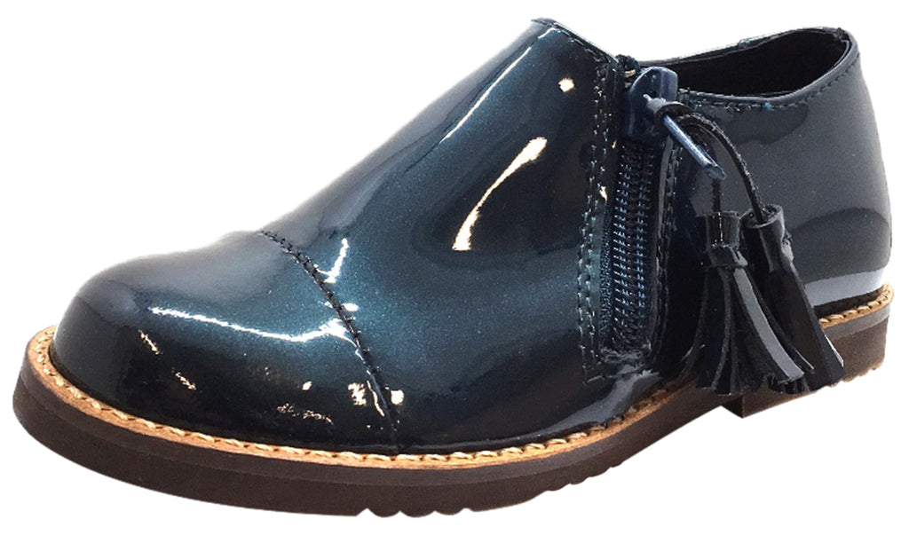 Luccini Boy's & Girl's Teal Patent Leather Tassled Zipper Loafer Flats with Natural Sole