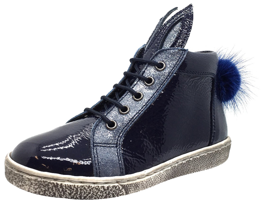 Zubii Girl's Navy Patent Leather Bunny High Top Sneaker with Distressed Sole