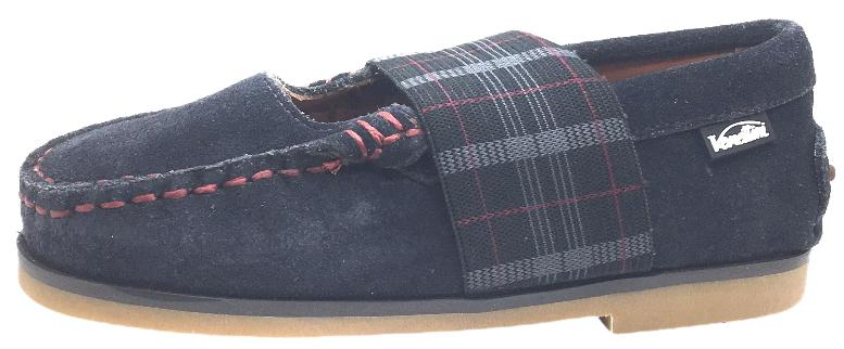 Venettini Girl's Lily Grey Suede with Tartan Plaid Elastic Strap Moccasin Flat