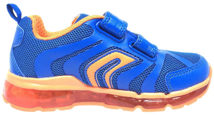 Geox Respira Boy's Android Royal Blue & Orange Mesh Light Up Double Hook and Loop Sneaker