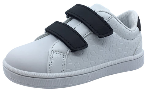 My Brooklyn The Original Boy's and Girl's Sneaker in White with Black Double Straps