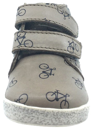 Naturino Falcotto Boy's & Girl's Tan Bike Icon Printed Leather Double Strap High Top Sneaker Shoe