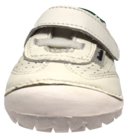 Old Soles Boy's & Girl's Spirit Pave Green Back Perforated Leather Hook and Loop Walker Baby Shoe Sneaker