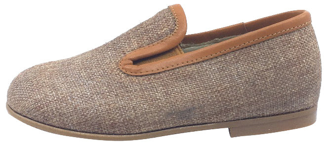 Luccini Boy's Tan Linen and Leather Trim Smoking Loafer