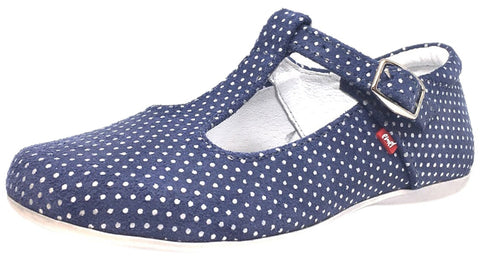 Emel Girl's Polka Dot Denim Blue Leather T-Strap Mary Jane Shoe