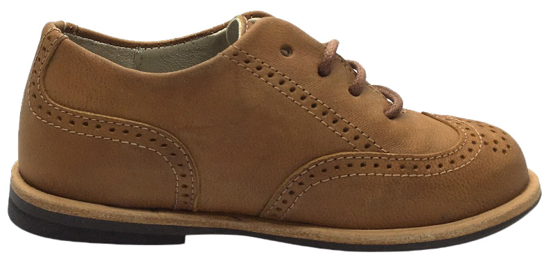 Manuela de Juan Boy's & Girl's British Distressed Tan Leather Lace Up Oxford Shoes with Perforated Penguin Toe