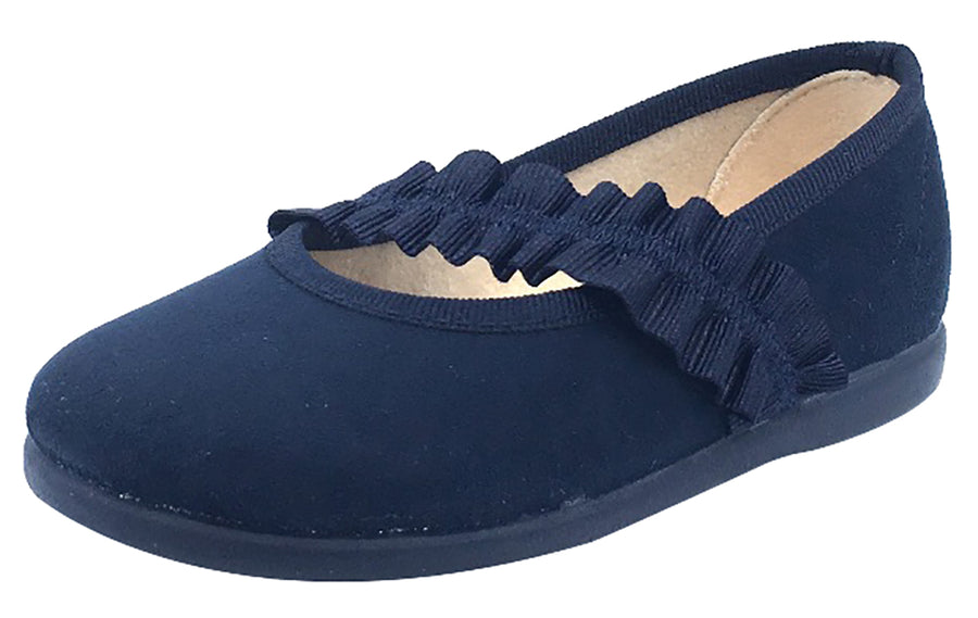 ChildrenChic Girl's Frilly Elastic Mary Jane, Navy Blue Suede
