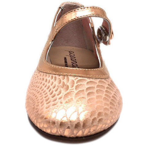 Papanatas by Eli Girl's Pink Snake Print Mary Janes Button Flats - Just Shoes for Kids  - 3