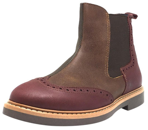 BluBlonc Girl's Burgundy Tan & Olive Leather Tri-Color Zippered Short Ankle Boots