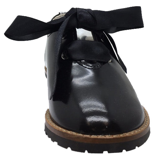Chupetin Girl's & Boy's Black Lace Up Leather Oxford with Silver Accents