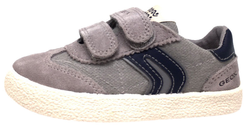 Geox Respira Boy's Suede and Canvas Double Hook and Loop Skater Sneaker Shoes inches, Grey/Navy - Just Shoes for Kids  - 2