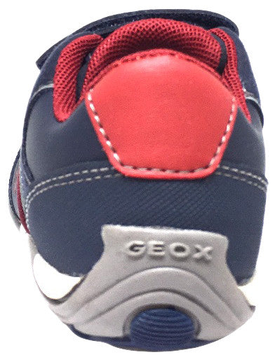 Geox Respira Boy's J Arno Leather Perforated Double Hook and Loop Sneaker Shoe inches, Navy - Just Shoes for Kids  - 3
