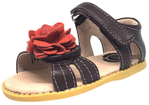 Livie & Luca Girl's Camille Brown Leather Suede Flower Hook and Loop Open Toe Sandal